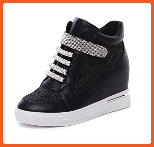 9bf712c95856e VECJUNIA Womens Fashion Rhinestone Hidden Wedge Sneakers Black 7 ...