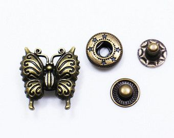 Butterfly Metal Snap Fastener, Butterflies Snap Buttons, Antique