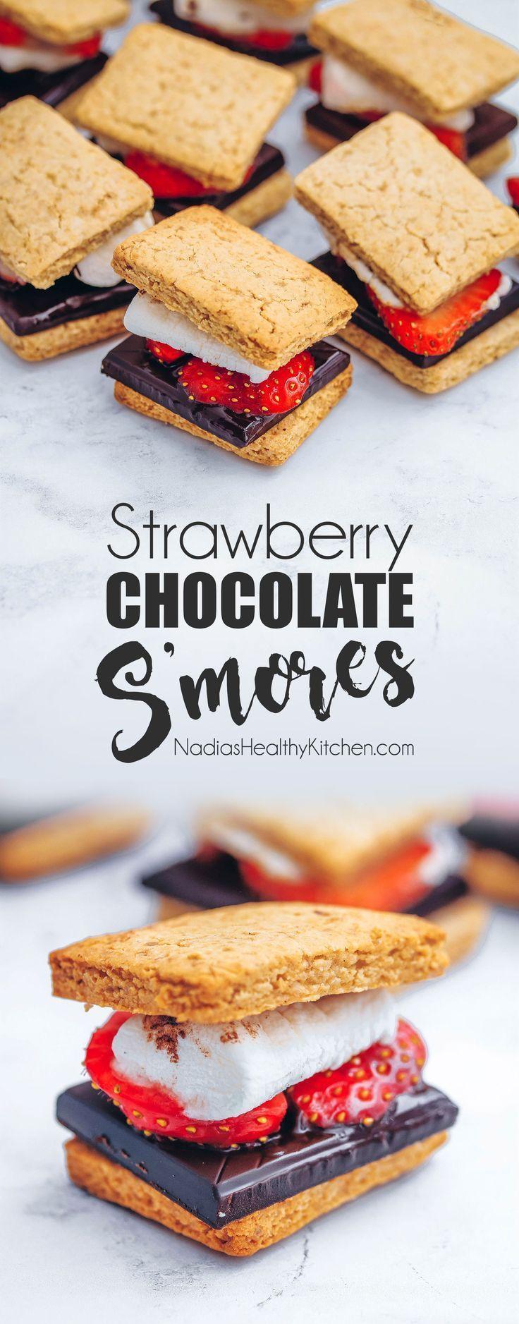 Strawberry Chocolate S'mores #chocolate #mores #strawberry #healthyrecipes