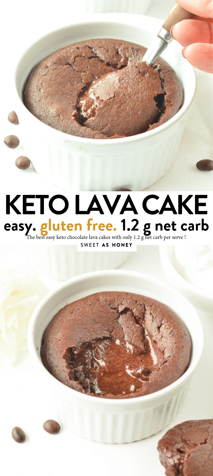 THE BEST KETO LAVA CAKE in the oven with 1 g net carb per serve. #ketolavacake #ketodesserts #ketorecipes #ketocake #keto #chocolate #lavacake #lava #cake #glutenfree #lowcarb #easy #healthy #dessertrecipeseasyhealthy