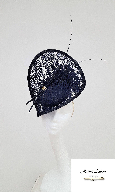 96c3cec6 Striking Navy lace #Hatinator, Wedding Hat, Mother of the Bride Hat, Ladies  Day Fascinator, #RoyalAscotFascinator, Navy Kentucky Derby Hat by ...