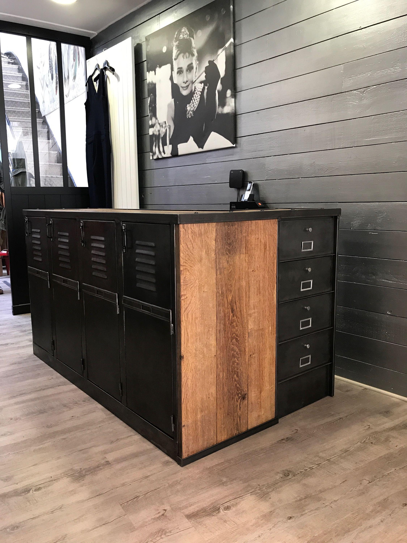 Superbe Comptoir De Magasin Industriel L Or Du Temps Ldt Mobilier De Salon Meubles De Rangement Deco Loft Industriel