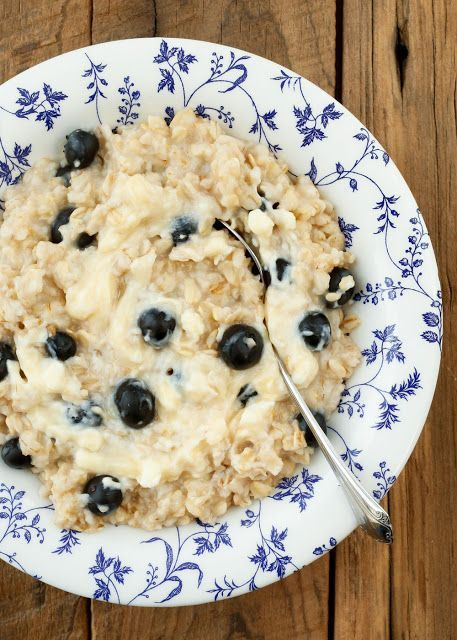 oats, fresh blueberries, and a swirl of lightly sweetened