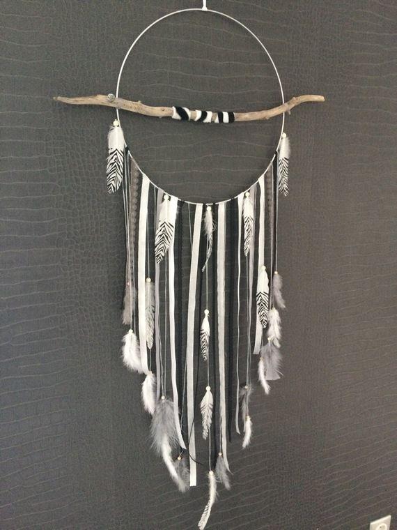 attrape r ves dreamcatcher geant en bois flott avec plumes z bres giant dreamcatcher. Black Bedroom Furniture Sets. Home Design Ideas