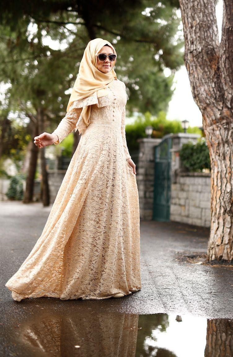 Sefamerve Tesettur Gold Dantelli Salli Abiye Elbise Modelleri Moda Tesettur Giyim Elbise Modelleri Moda Stilleri Elbise