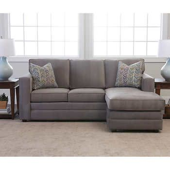 Pleasing Beeson Fabric Queen Sleeper Reversible Sectional Grey Ncnpc Chair Design For Home Ncnpcorg