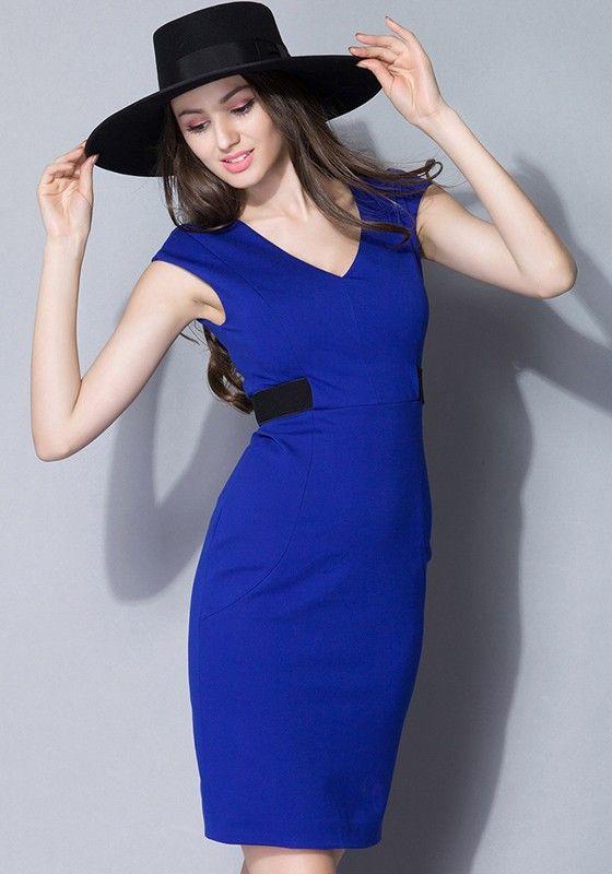 Navy Blue Color Block Cut Out Slim Dress  c499dcbde6dc