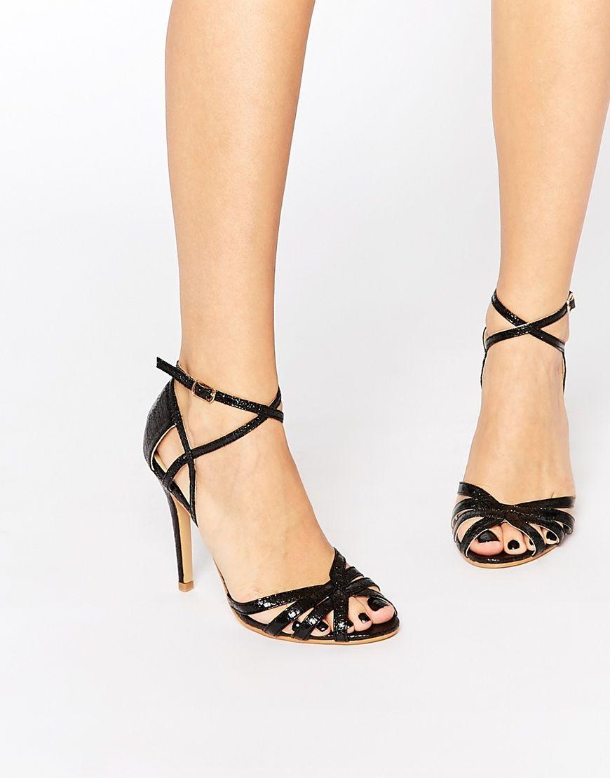 64013d83bc6b Image 1 of Glamorous Black Strap Heeled Sandals