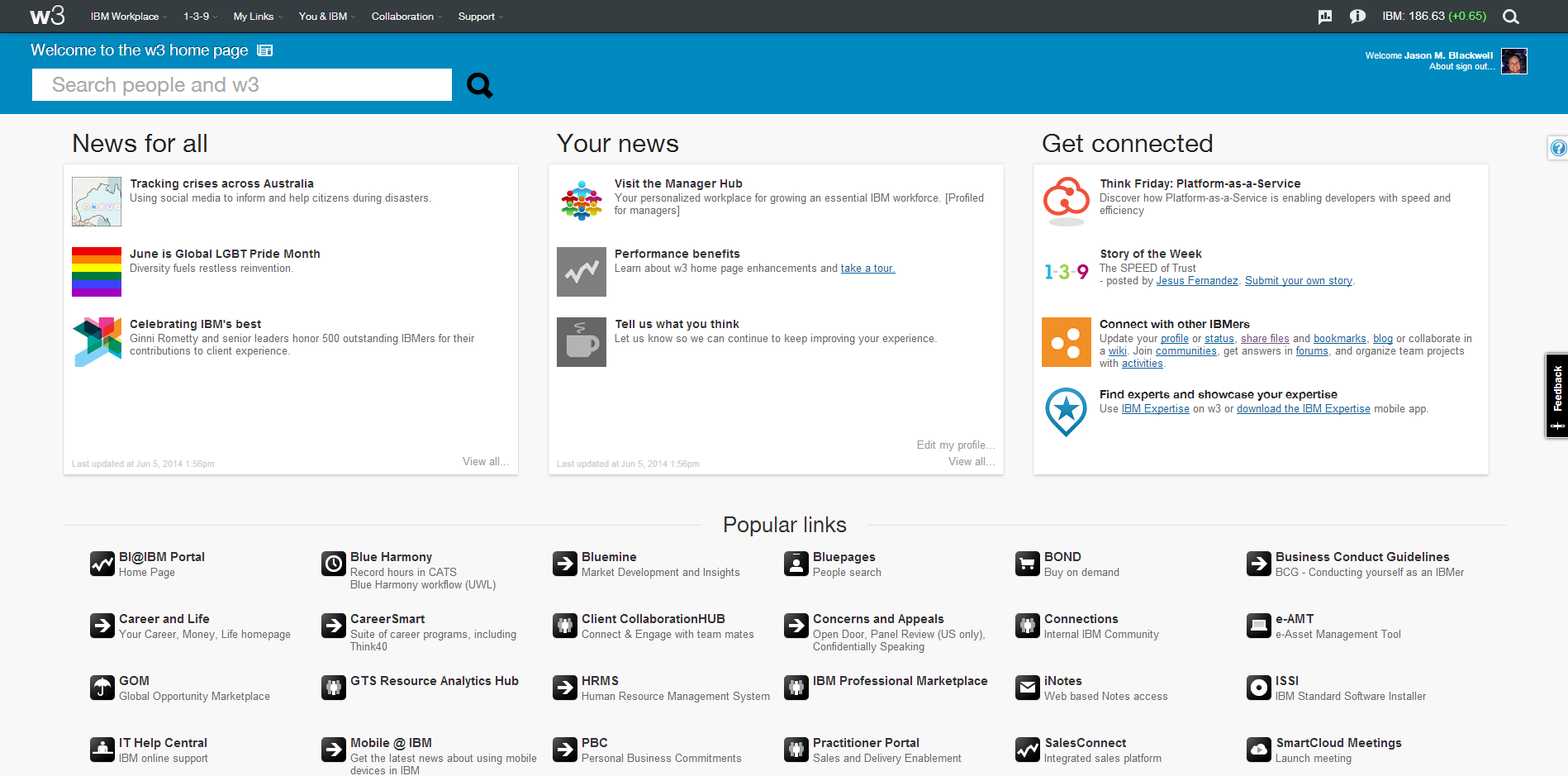 Ibm Intranet Home Page W3 June 2014 Png 1 898 939 Pixels Search People Screenshots