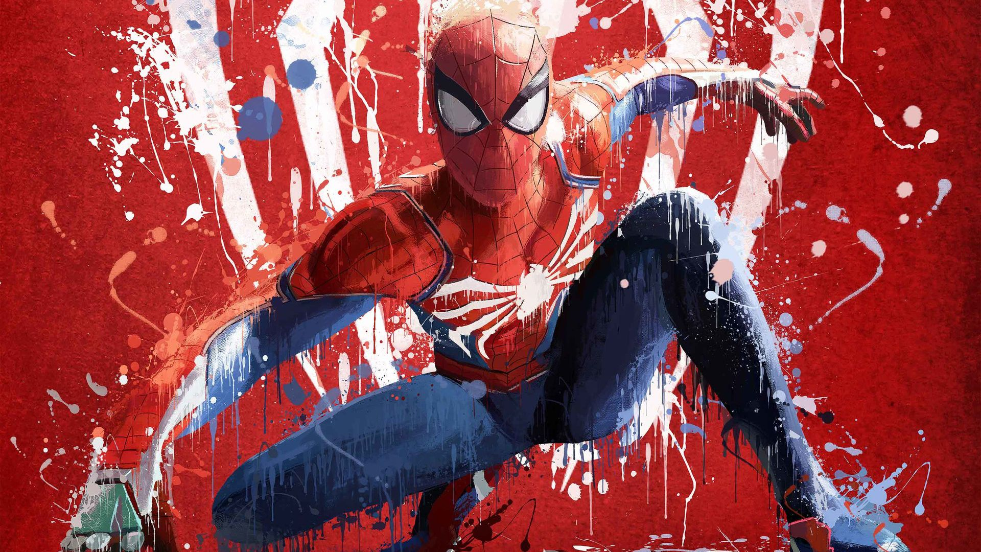Spiderman Splash Art 90x60cm Leinwandbild Vintage Aquarell Wandbilder Caro Art