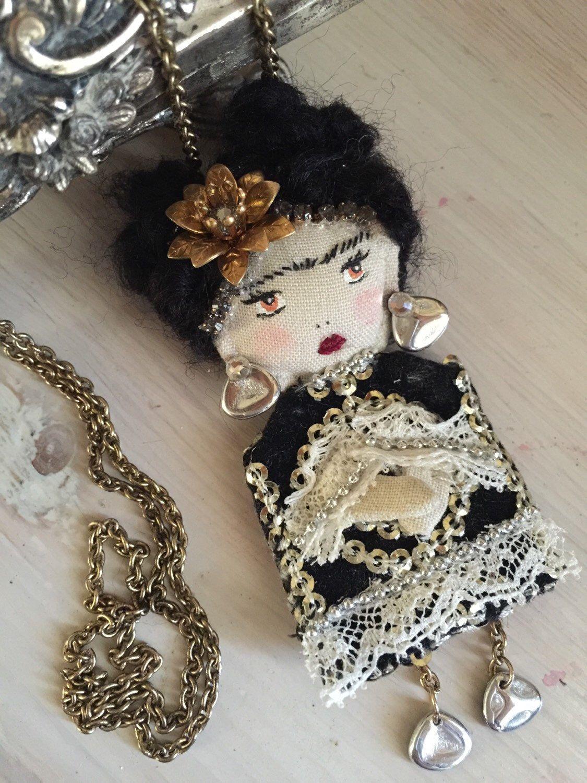Frida Doll Brooch /& Pendant Artistic necklace Frida brooch pin Tiny doll   Art doll Mexican doll  Wearable art jewelry
