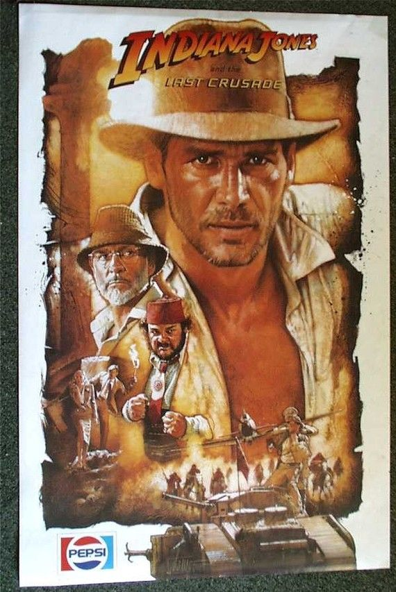Indiana Jones and the Last Crusade, vintage 1989, Pepsi Promotional Poster, Harrison Ford, Sean Connery