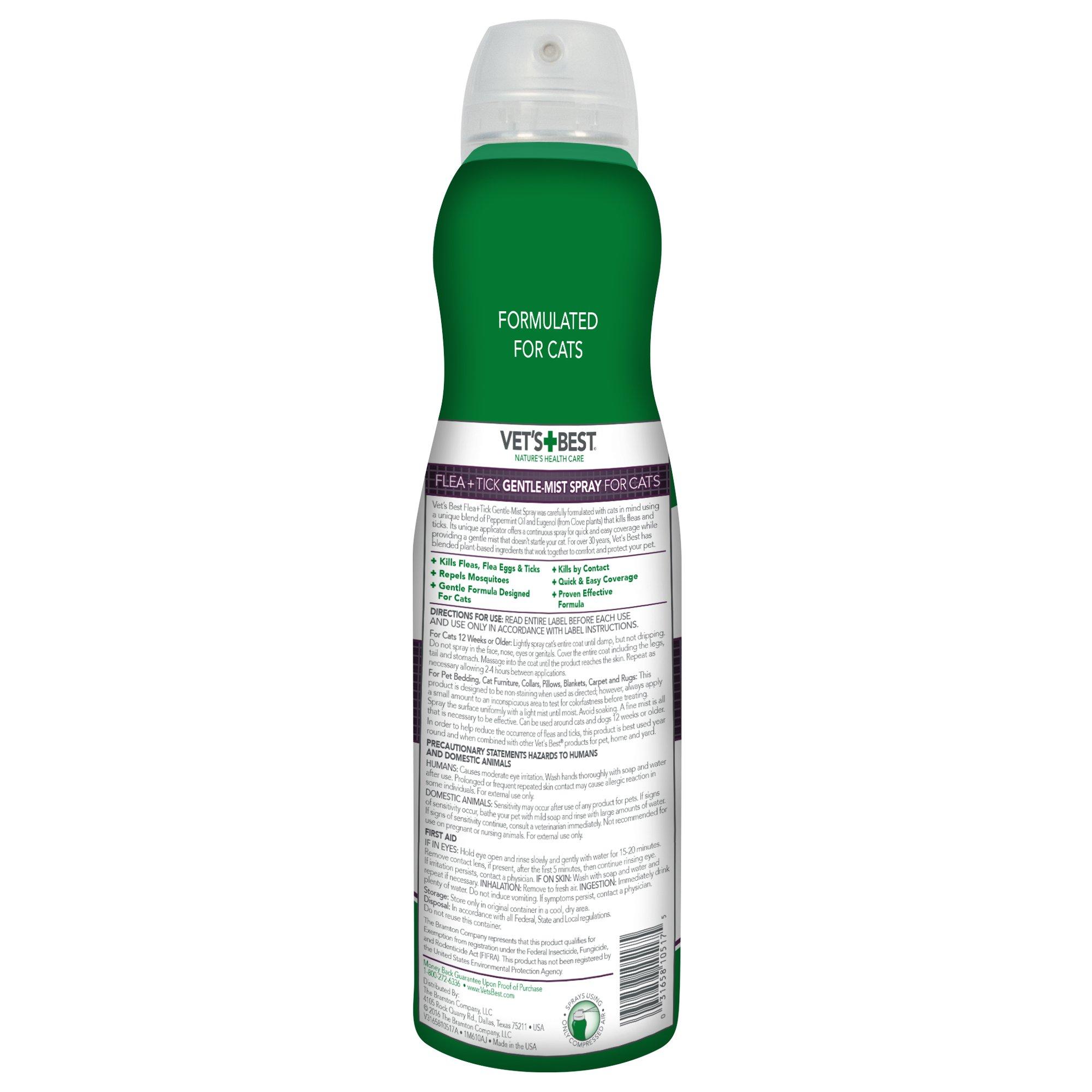 Vet's Best Flea & Tick Gentle Mist Spray for Cats, 6.3 oz
