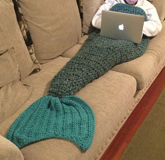 Ready to ship. Hand crocheted Mermaid tail blanket, Mermaid Cocoon ...