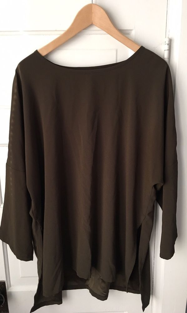 Babette Sf Tunic Top In Brown Drop Shoulder Sleeves 100 Polyester
