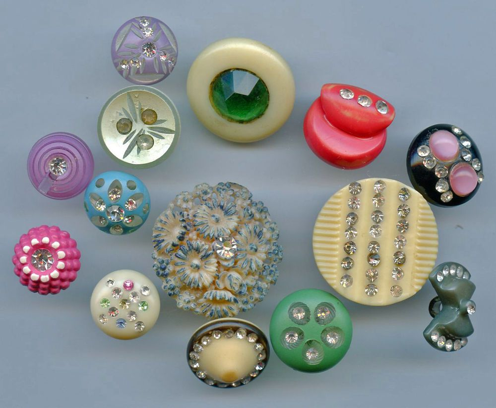 14 Celluloid And Other Plastic With Pastes Buttons Antique Buttons Buttons Vintage Buttons