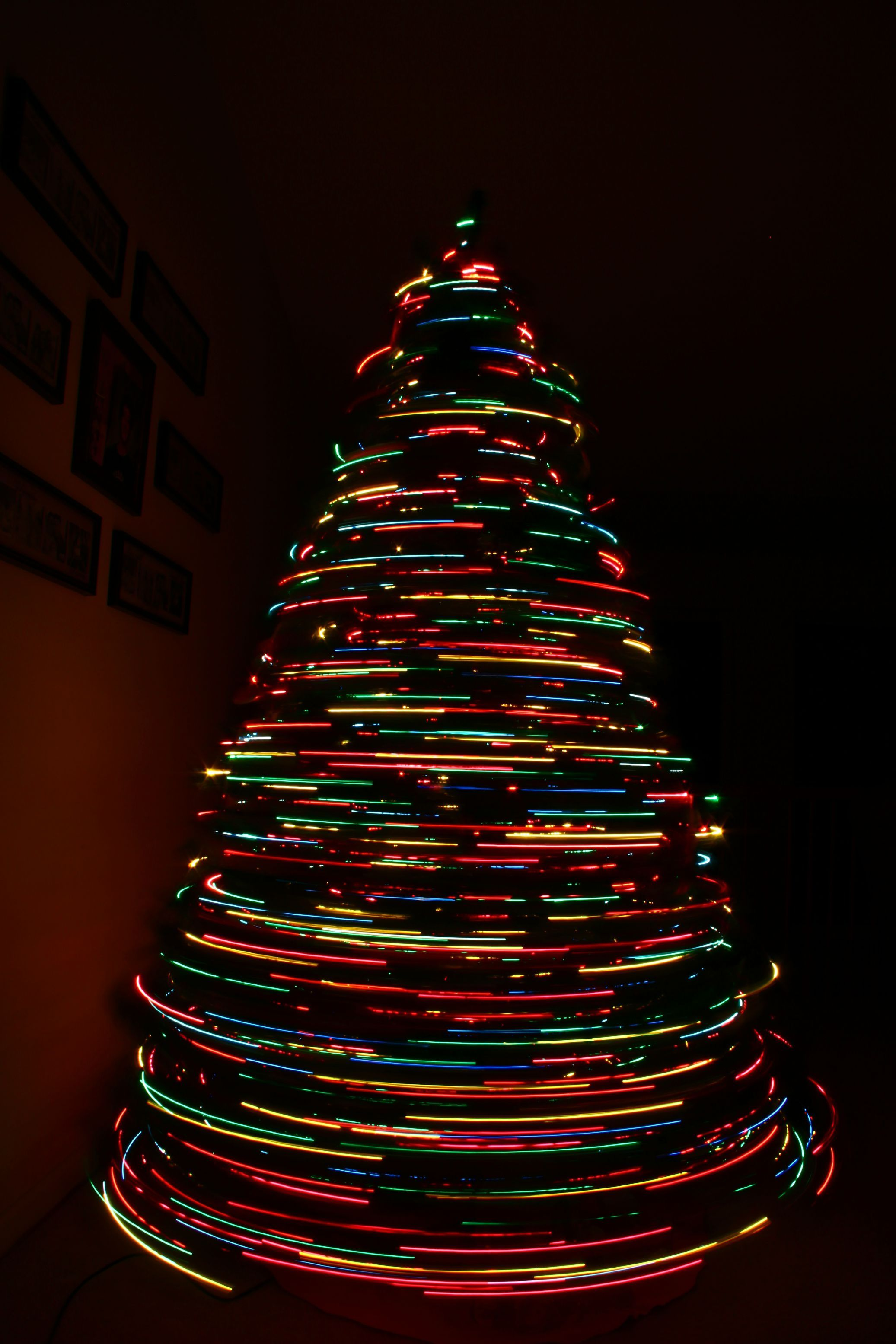 Long exposure of my Christmas Tree spinning...and then I zoomed in