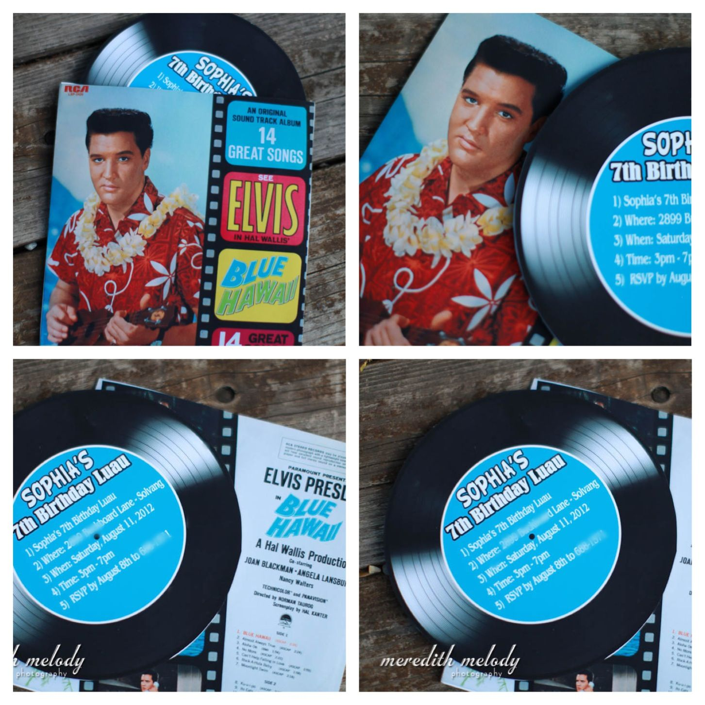 Elvis Birthday Party Invitation Faux Record 50s Dance Poodle Skirt