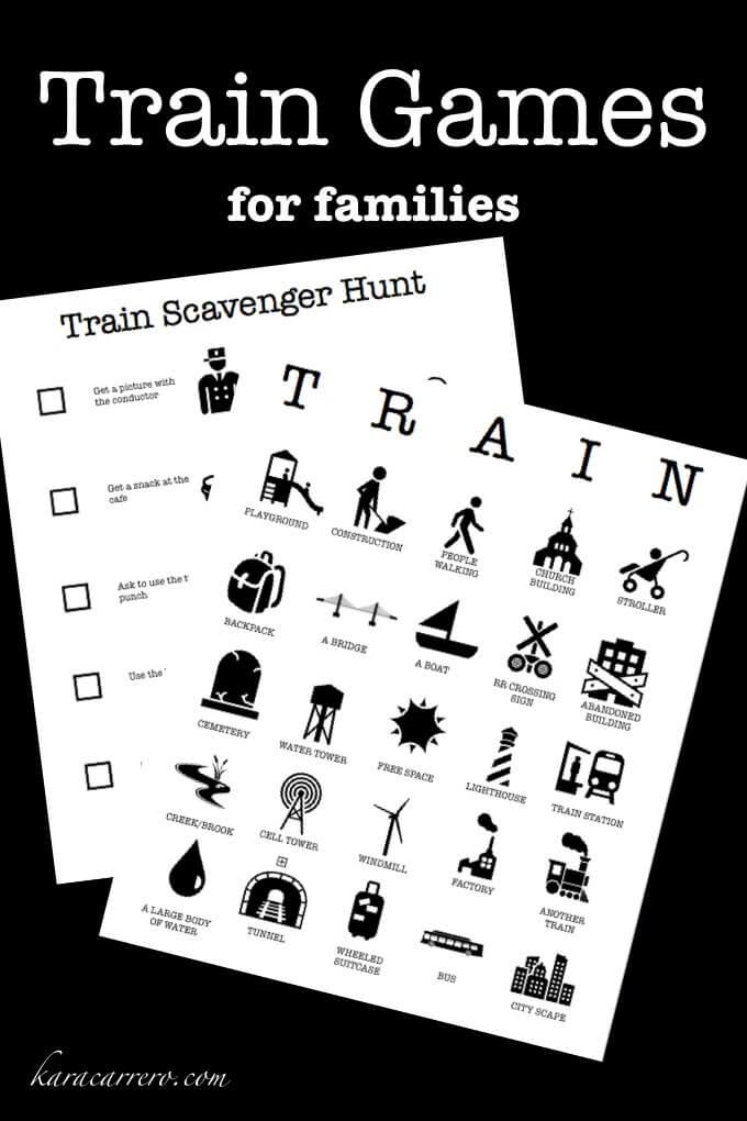 Train Games Train Bingo for families Train games for