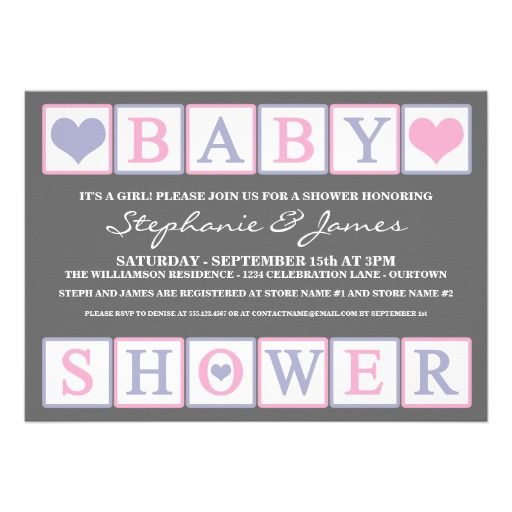 Letter Blocks Baby Shower Girl Invitation Babyshower Babygirl