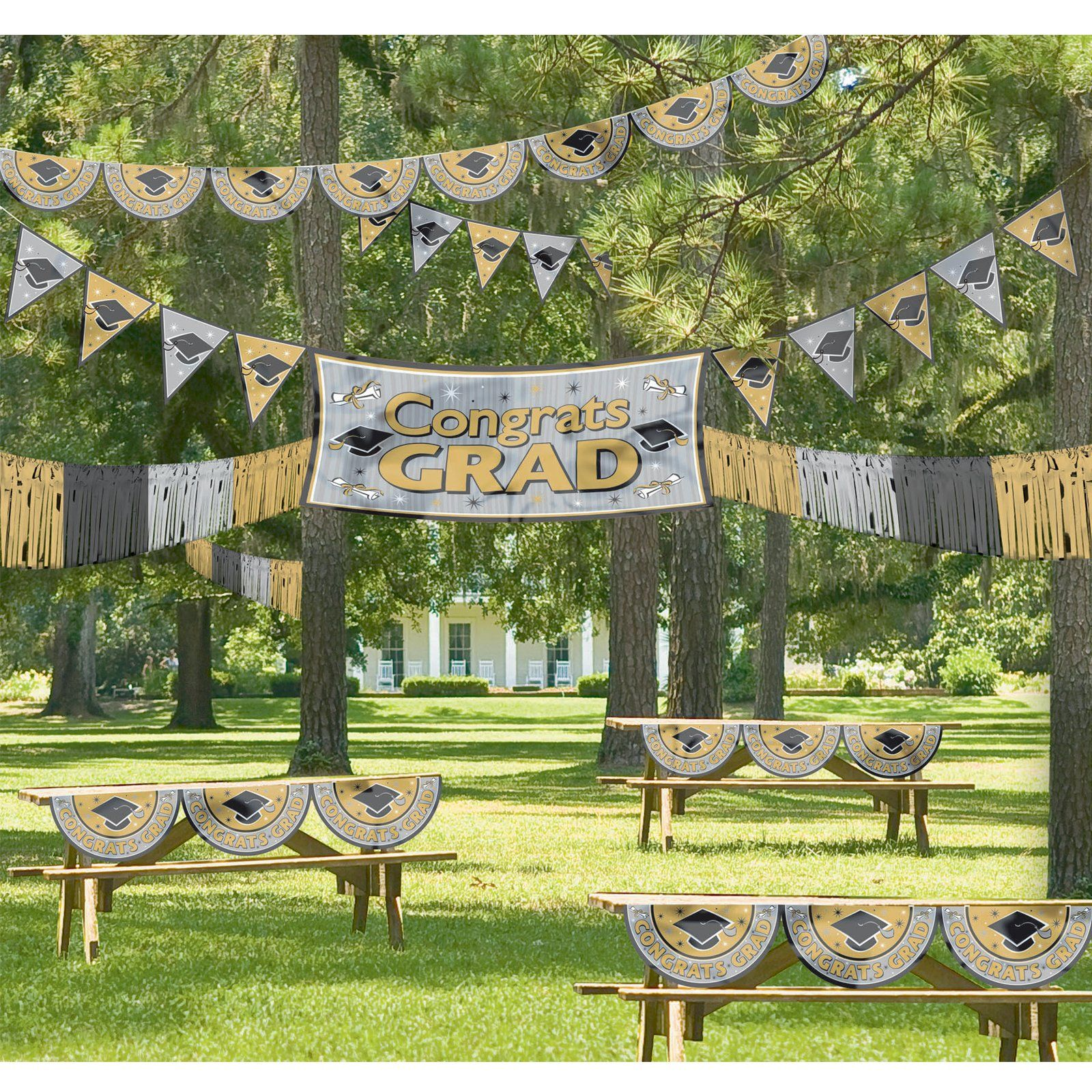 black and gold graduation giant outdoor decorating kit On outdoor decorating ideas for graduation party
