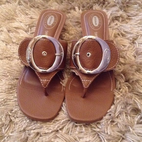 43b17902950a Dr Scholls New Zodiac feel Crazy Good sandals The Original Dr Schools Brown  leather thong with chrome buckle. New