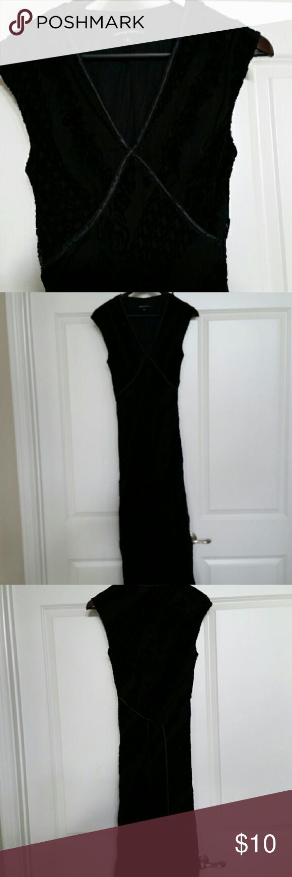 """Black Velvet Dress Black Velvet Dress Satin trim - Fully lined - tie belt - 36"""" under and around each arm - 55"""" length from shoulder to waist - 30"""" waist Chris McLaughlin  Dresses Midi"""