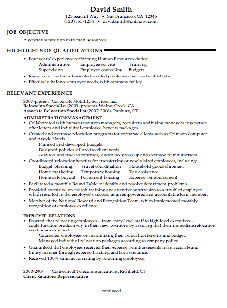 hr objectives for resume