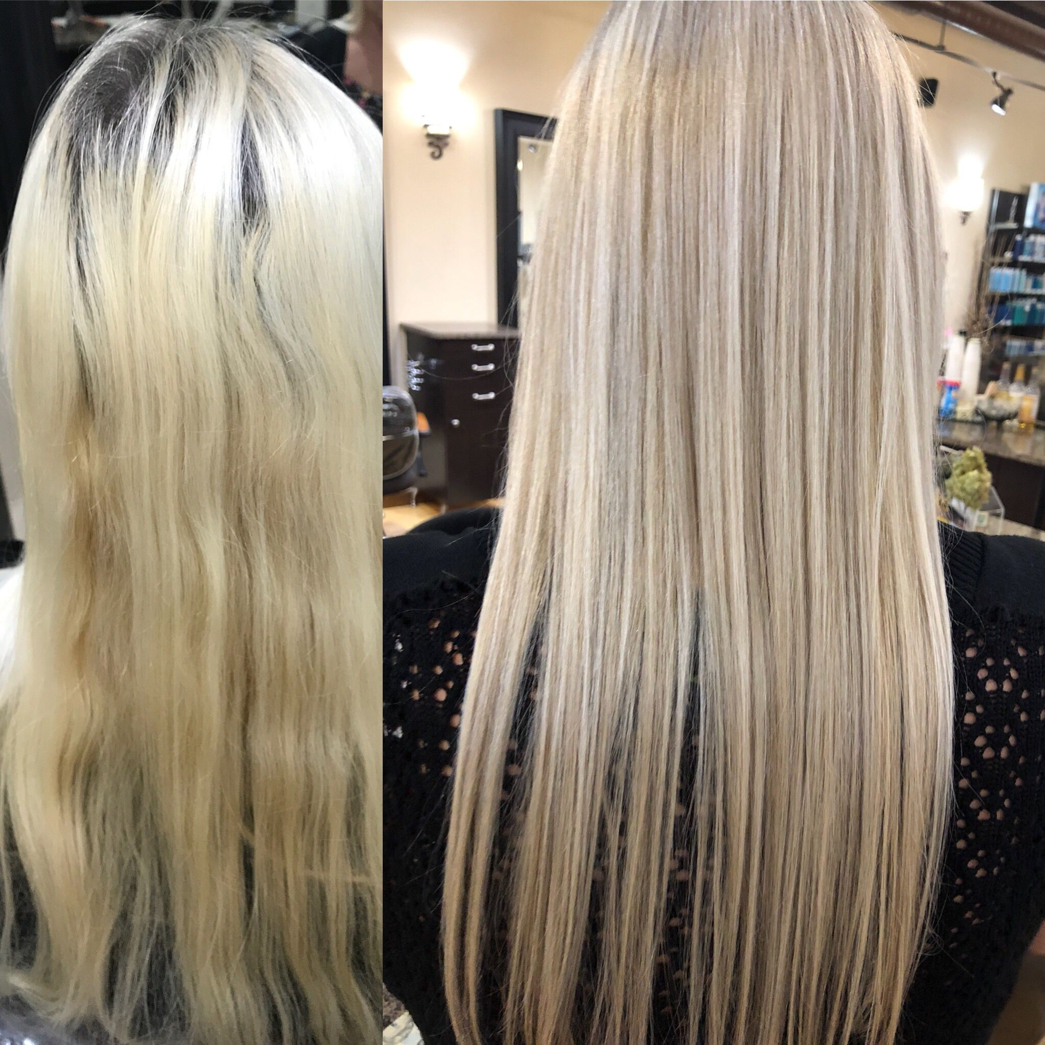 Solid Blonde To Light Ash Blonde Hair Color Long Straight Hair