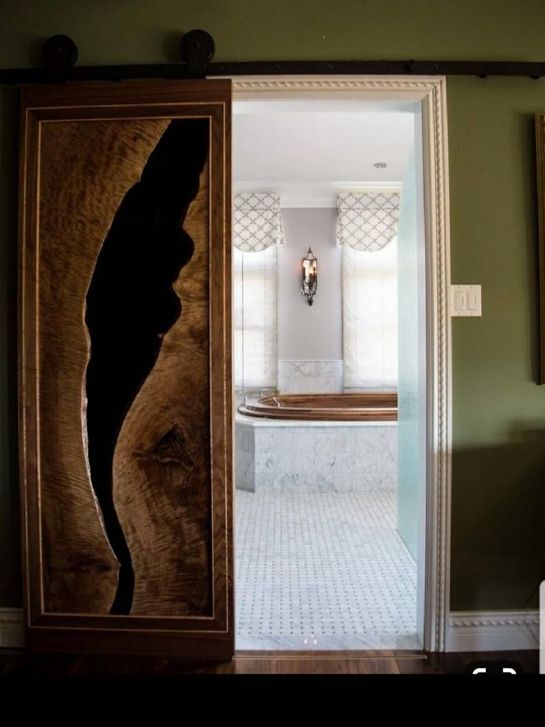 Epoxy Door Resin Door Recalmed Door Custom Made For Evan In 2020 Epoxy Sliding Closet Doors Barn Door Designs