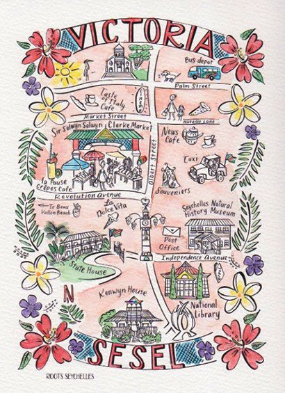 Illustrated Hand Painted Watercolor Map of Victoria Seychelles