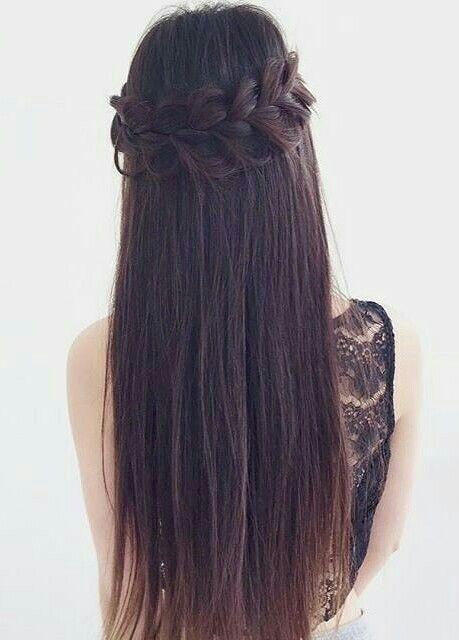 Straight Hair With Braid Gorgeoushair Hair In 2019 Hair Styles Straight Hair With Braid Straight Prom Hair Straight Wedding Hair