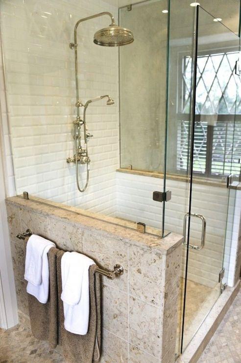 Seamless glass shower with glossy white beveled subway tiles shower surround rain shower head - Glass shower head ...