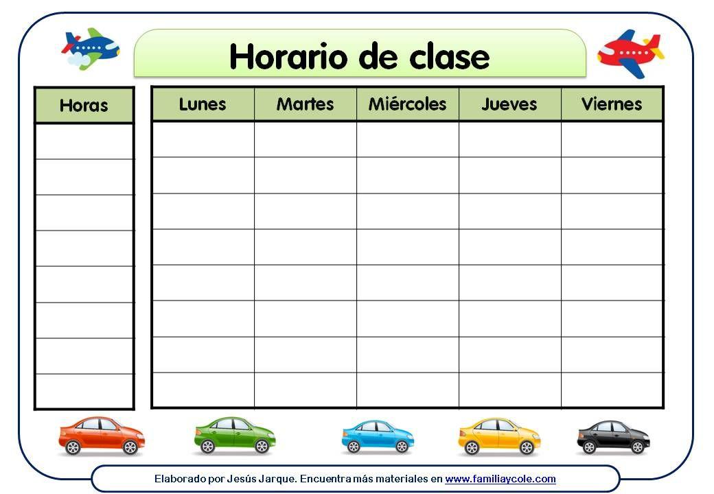diferentes modelos de horario escolar para descargar e imprimir