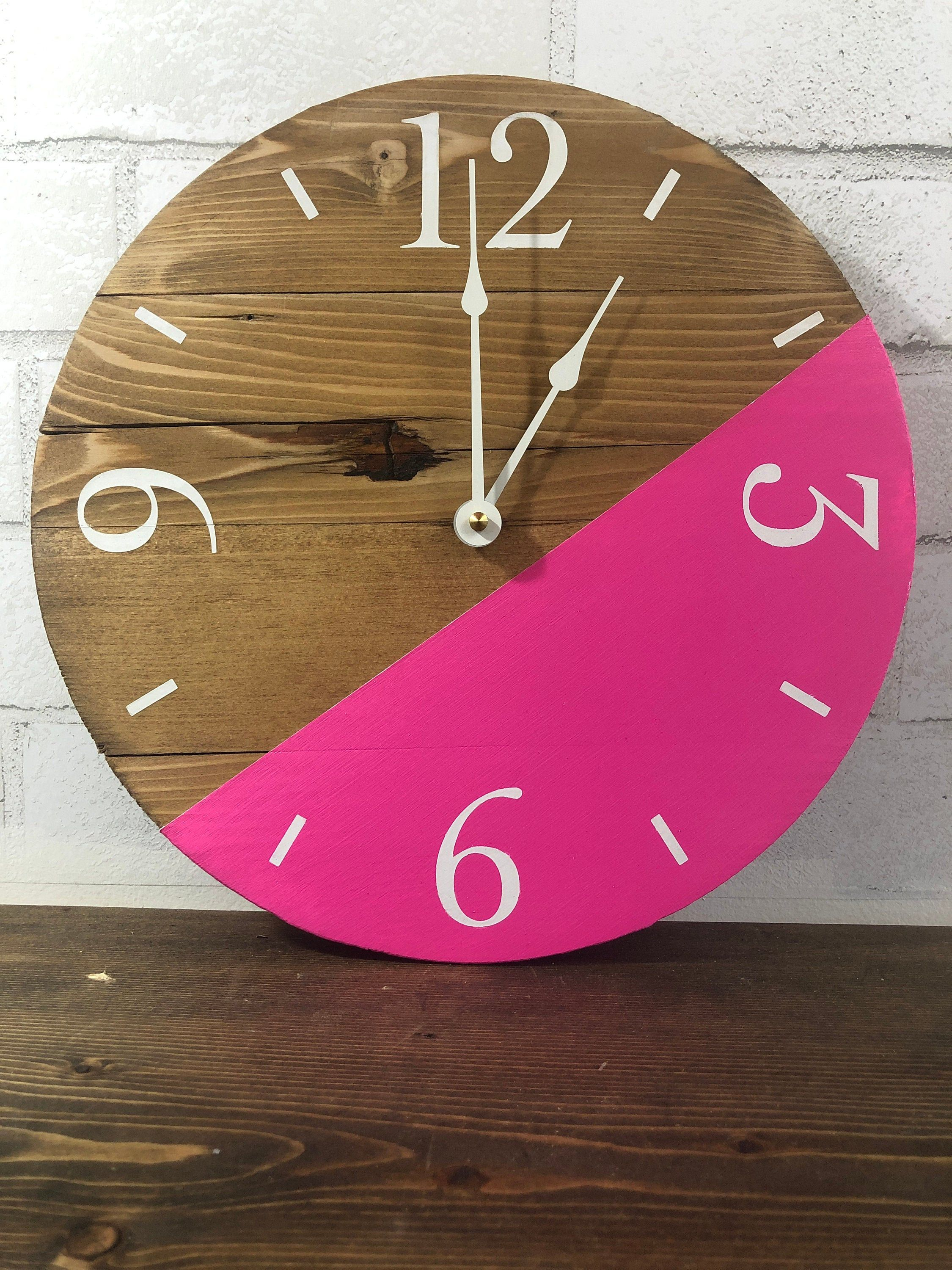 Ready To Ship 12 Modern Wood Clock Contemporary Wall Clock Modern Farmhouse Decor Pink By Thewo Contemporary Wall Clock Pink Clocks Modern Farmhouse Decor