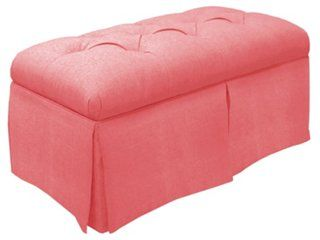"""Olivia 36"""" Tufted Storage Bench, Coral"""