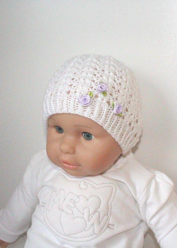 Strickanleitung Baby Mütze Taufmütze Ajourmuster Ca 5 12