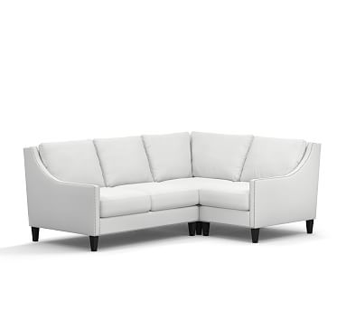 Pasadena Upholstered Left Arm 3-Piece Corner Sectional, Polyester Wrapped Cushions, Washed Linen/Cotton White