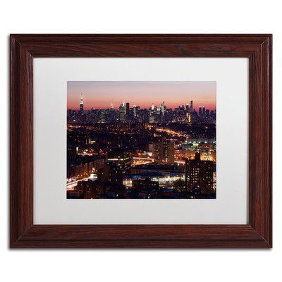 """Trademark Art 'Midtown From Queens' by David Ayash Framed Photographic Print Size: 11"""" H x 14"""" W"""