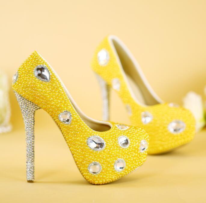 Sz35 41 Womens Rhinestone Bling Yellow High Heels Prom Wedding Pumps Party Shoes