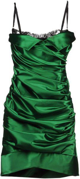 6618735a Dolce & Gabbana emerald silk dress. Love the peek of black lace | My ...