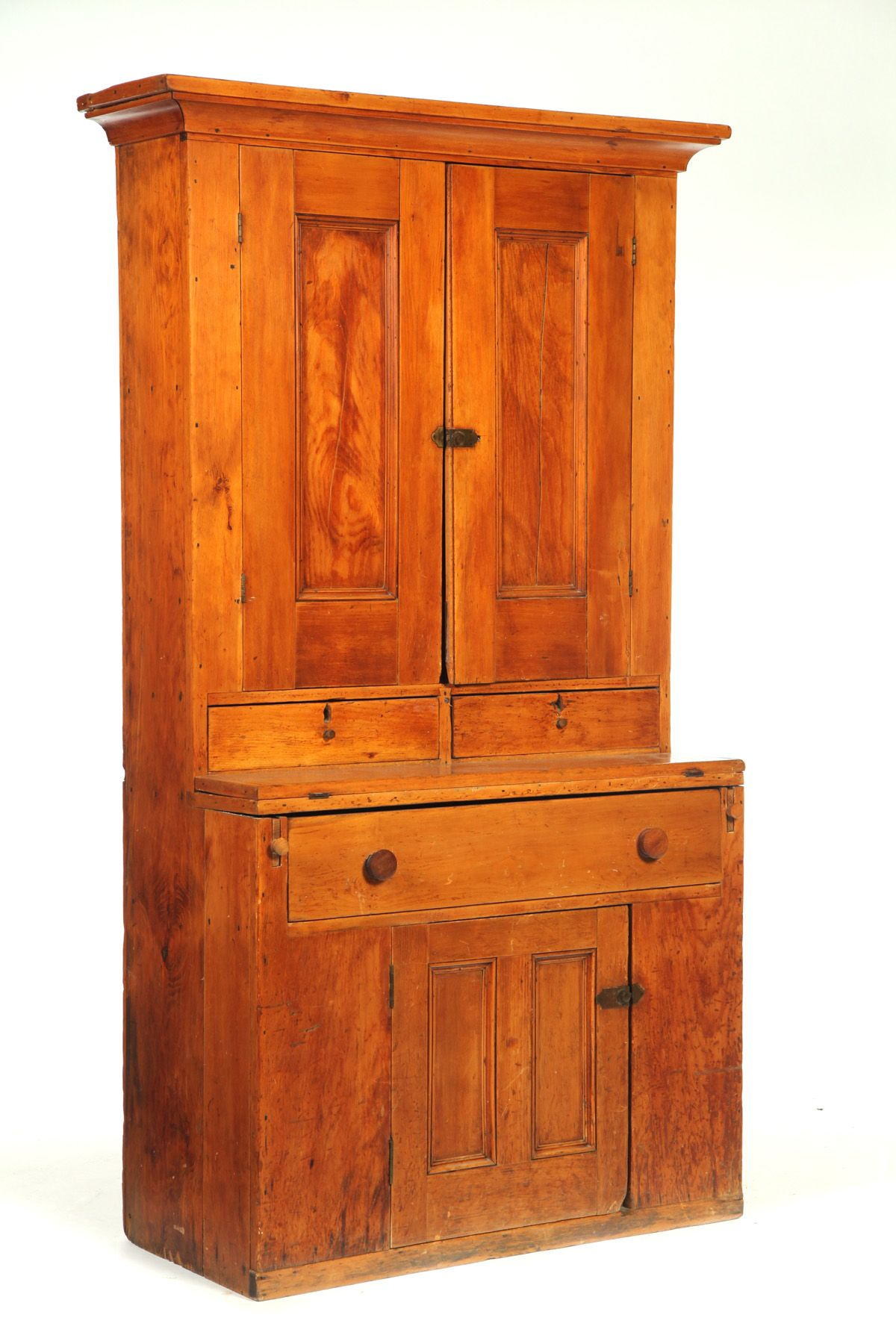 Country Secretary American 19th Century Pine One Piece The Upper Section With Paneled Doors And Primitive Furniture Period Furniture Primitive Decorating