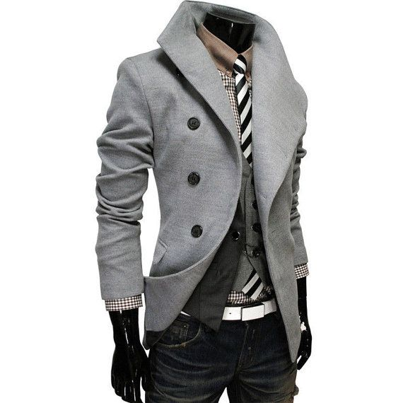 Mens Slim Fit Double Breasted Trench Casual Peacoat