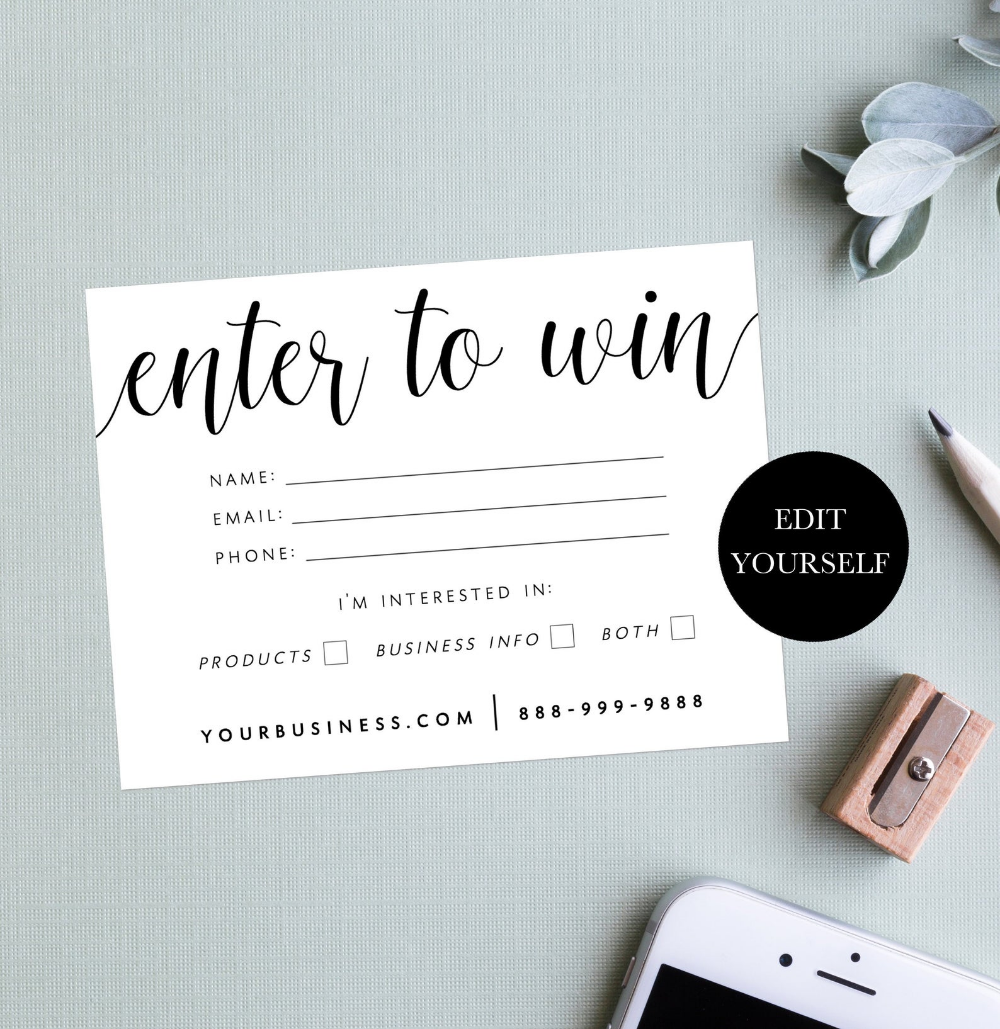 Enter To Win Card Win A Prize Cards Enter The Contest Enter Etsy In 2021 Marketing Template Cards Enter To Win