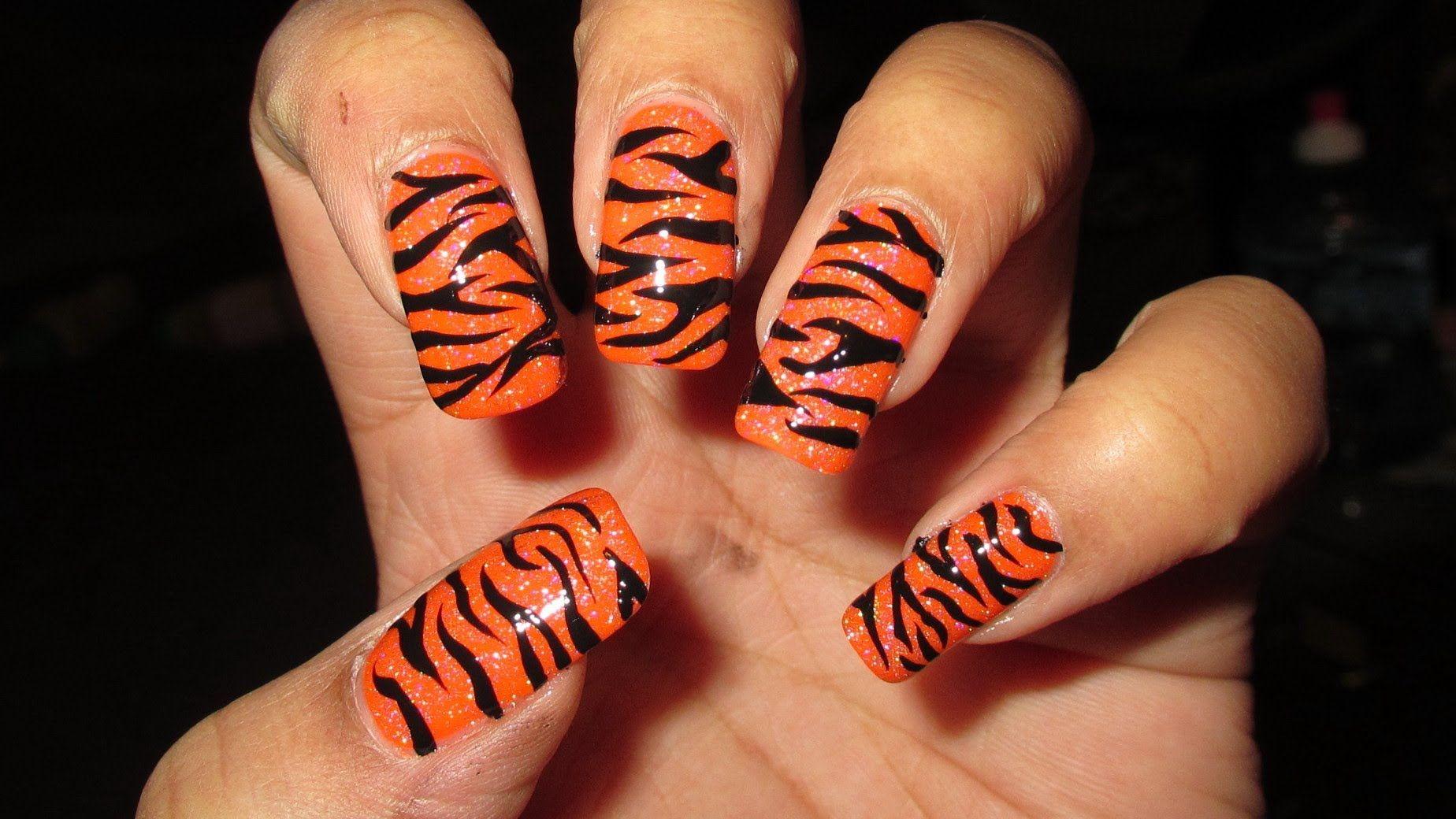 Freehand Tiger Stripes Nail Art Tutorial | Nail Looks I Love ...