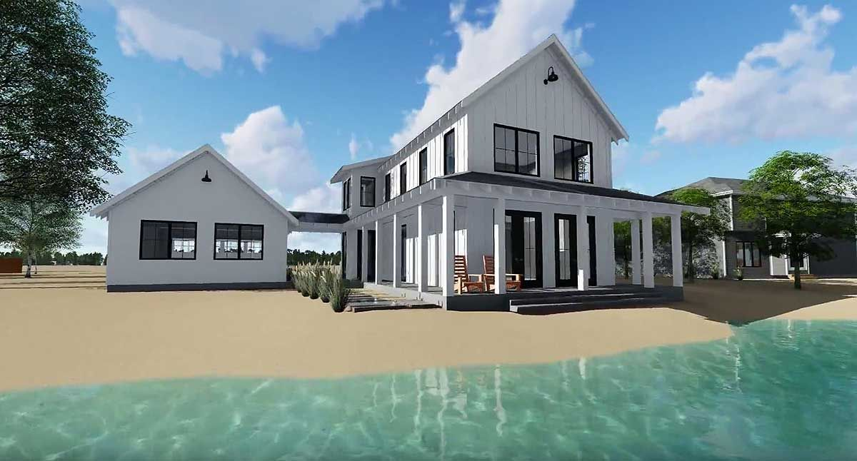 Plan 62650DJ: Modern Farmhouse Plan with 2 Beds and Semi-det…