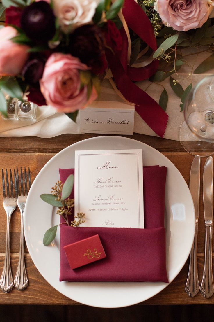 Deep Burgundy Wedding with Accents of Blush // place setting, spriig ...
