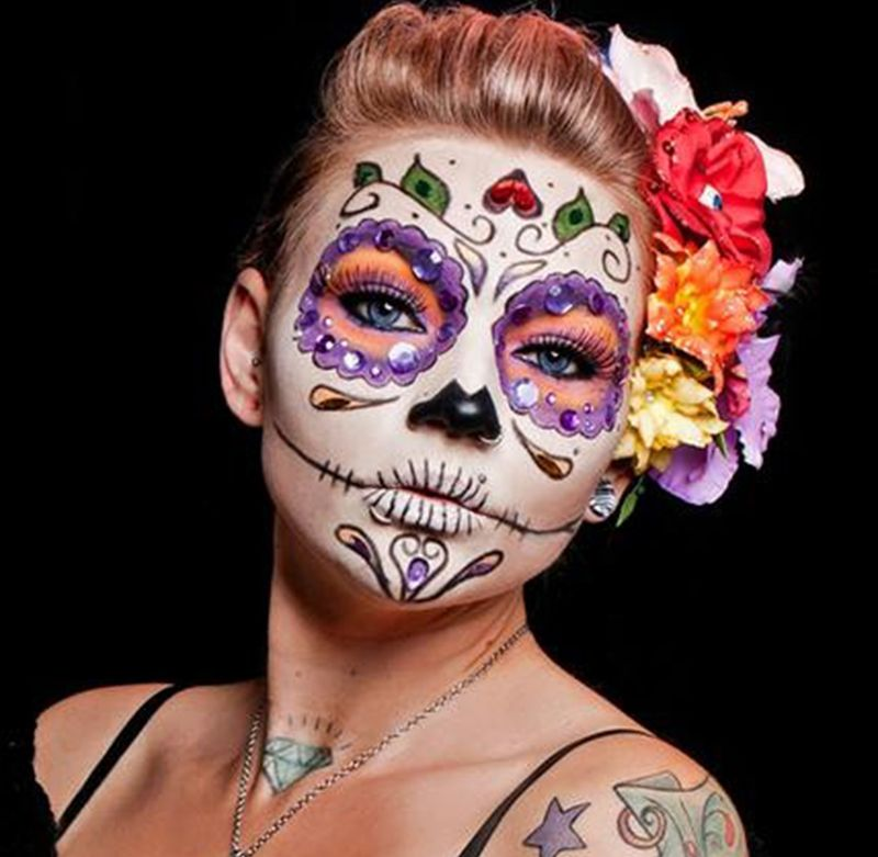 face painting skull flower face painting simple tiger face painting - Halloween Skull Face Paint Ideas