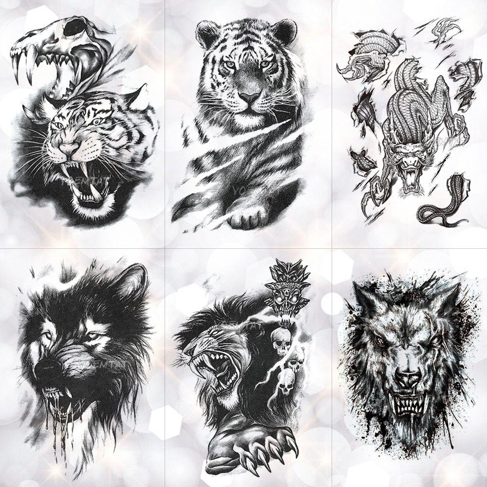Tiger Skull Leopard Dragon Waterproof Temporary Tattoo Sticker Wolf Animals Tattoos Body Art Arm Hand Men Fake Tato In 2020 Body Art Tattoos Animal Tattoo Tiger Skull