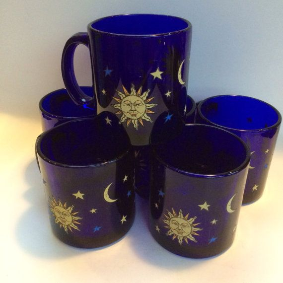 1 Of 4 Libbey Glass Cobalt Blue Celestial Moon Sun Stars Sapphire Vintage Coffee Cup Mug Blue Coffee Mugs Vintage Coffee Cups Witchy Decor